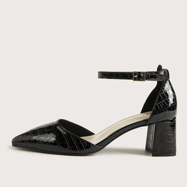 Women's Croc Embossed Ankle Strap Chunky Heels