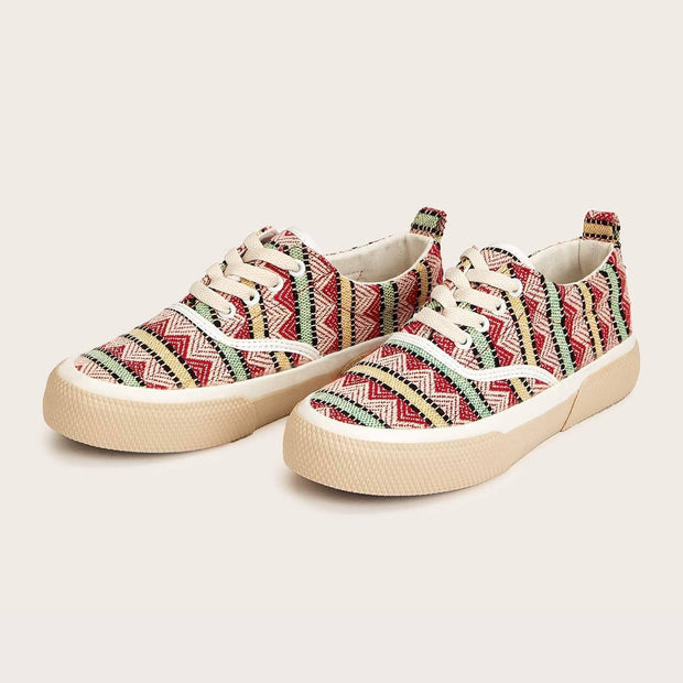 Women's Chevron Detail Lace-up Front Sneakers