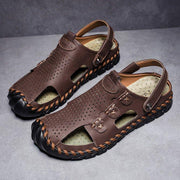 Men's Breathable Hollow Out Genuine Leather Anti-collision Toe Beach Sandals