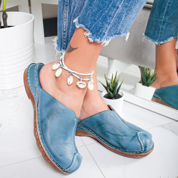Women's Round Toe Low Heel Sandals Slippers Mule Flat
