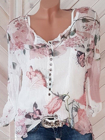Autumn Spring Polyester Women Square Neck Decorative Button Floral Printed Long Sleeve Blouses