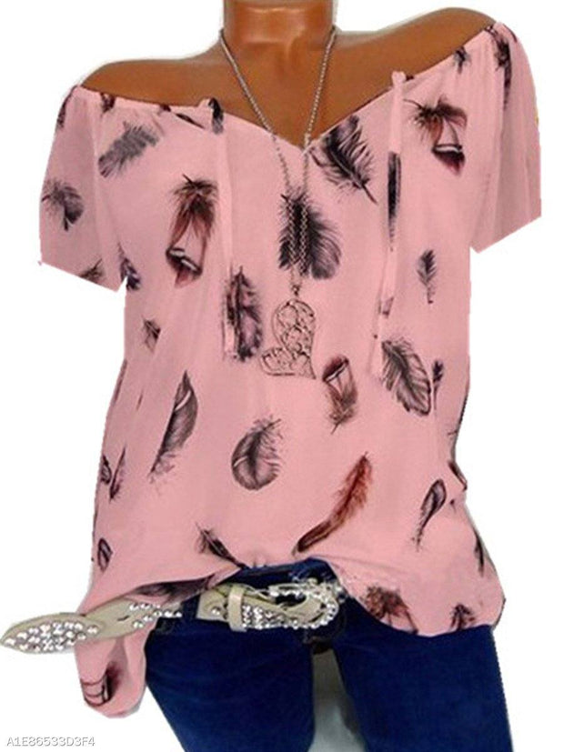 Round Neck Loose Fitting Feather Blouses