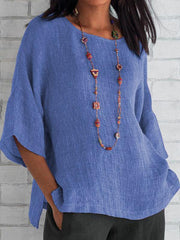 Basic Linen Crew Neck Solid Blouse