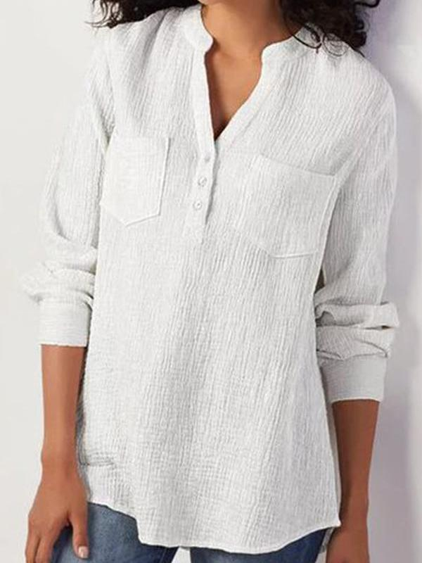 Basics Pockets Design Linen Blouse