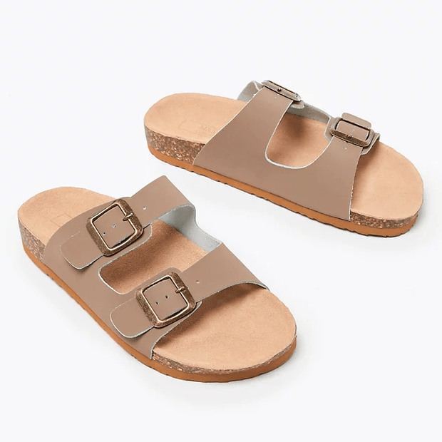 Women's Leather Two Strap Sandals