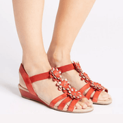 Women's Wide Fit Leather Flower Sandals