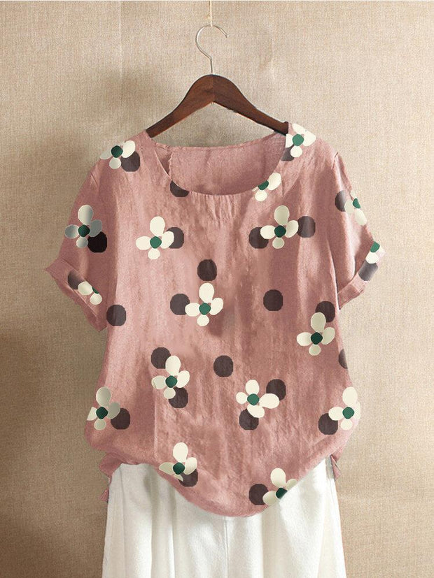Women's Floral Printed O-Neck Short Sleeve Cotton T-shirt