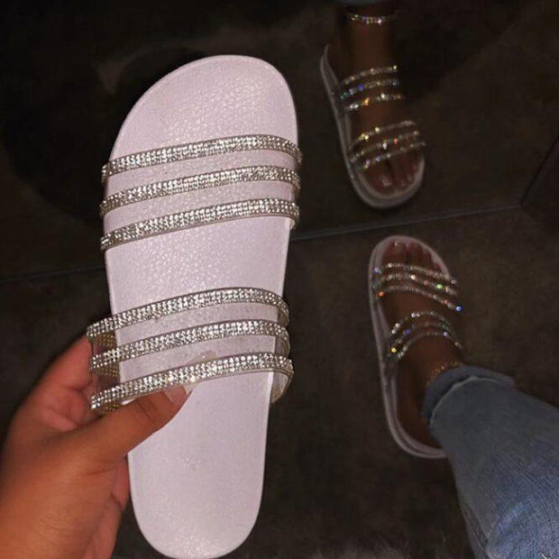 Women's Rhinestone Wedge Heel Flip Flop Slip-On Beach PVC Slippers