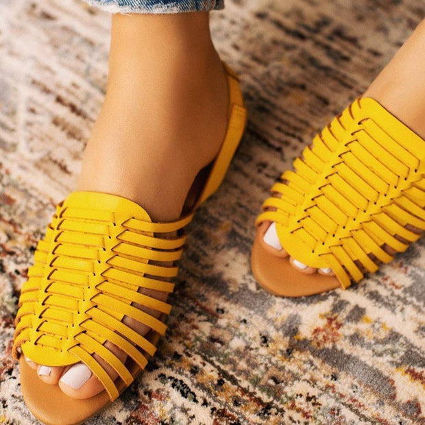 Women's Buckle Slingback Strap Block Heel Peep Toe Woven Casual Sandals
