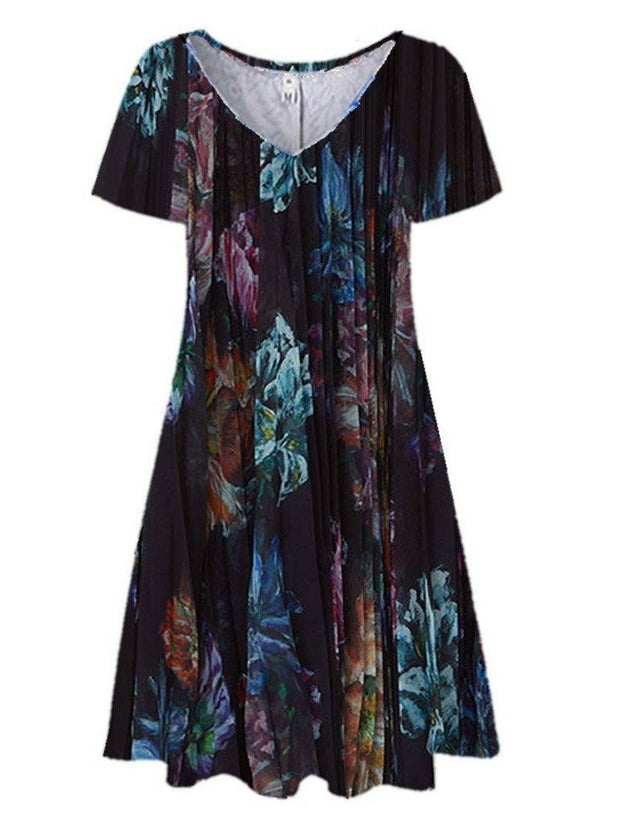 Women Casual Floral Printed Short Sleeve V-neck Midi Dress