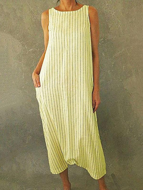 Women's Striped Printed Pockets Maxi Dresses