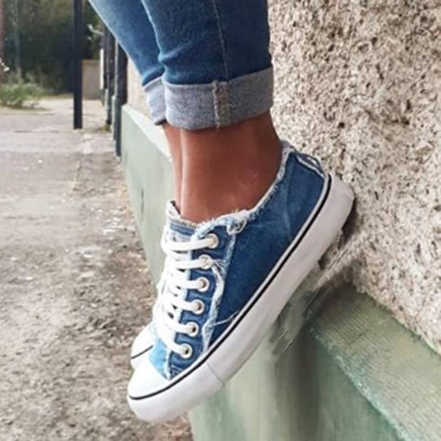 Women's Casual Denim Flat Lace-up Shoes Sneakers