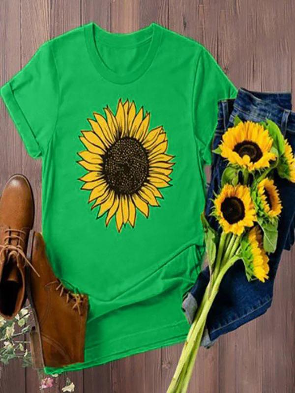 Plus Size Sunflower Printed Casual T-shirts
