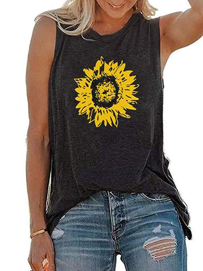 Plus Size Women Crew Neck Casual Sunflower Printed Tank Tops