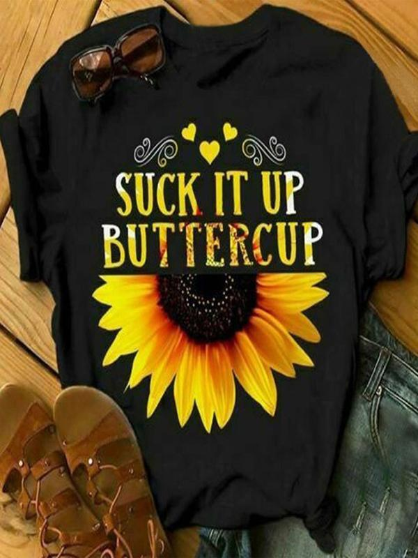 Plus Size Crew Neck Sunflower Letter Printed T-shirts