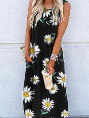 Black Sleeveless Floral Cotton Dresses