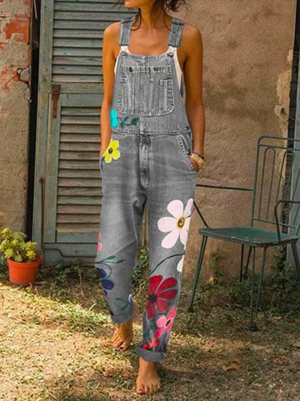 Sun flower Sleeveless Denim Floral Floral-Print One-Pieces