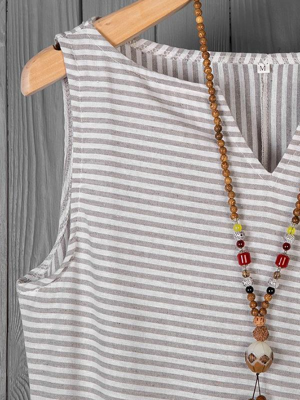 Women Linen V Neck Striped Holiday Cotton Dresses