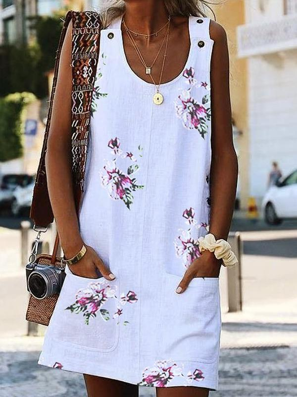 Women's Casual Floral Print Dress Crew Neck Sleeveless Paneled Summer Dresses