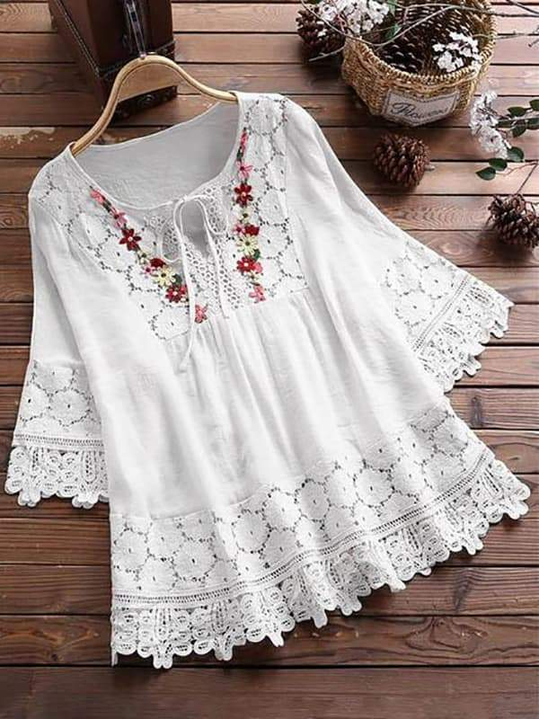 Fashion Lace Patchwork Bow Blouses for Women