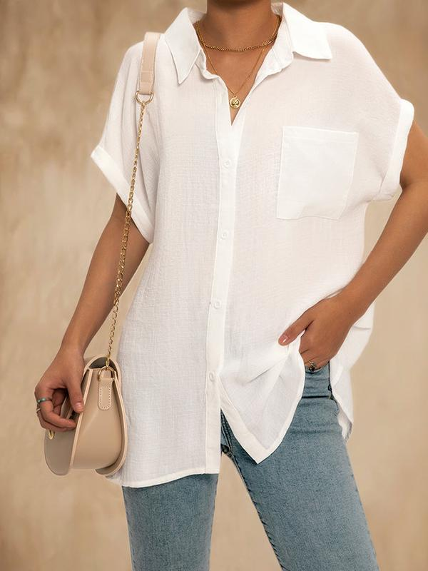 Women Solid Color V Neck Short Sleeve Casual Blouse