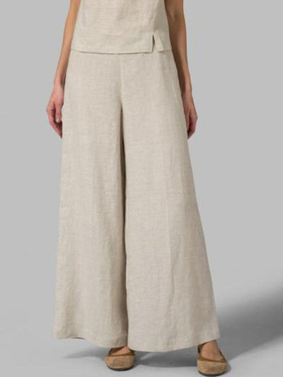 Solid Basic Casual Loose Plain Pants