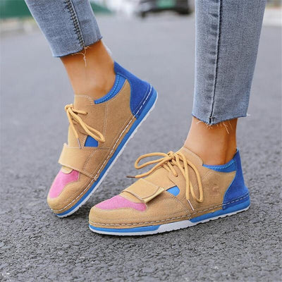 Women's Hit Color Lace Up Flat Heel Sneakers
