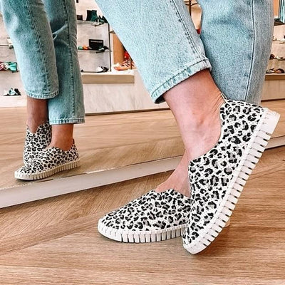 Women's Slip-On Compfy LeopardFlat Sneakers