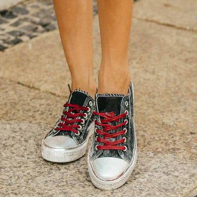 Women's Vintage Silver Plated Sneakers