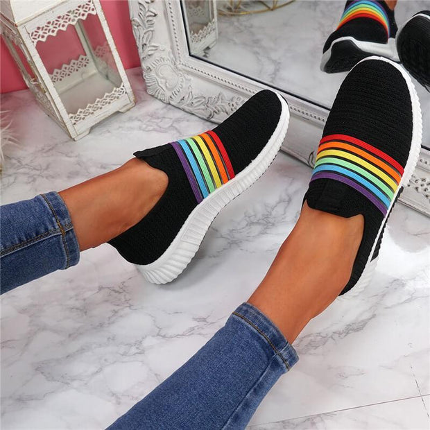 Women's Flyknit Fabric Rainbow Slip On Flat Heel Sneakers