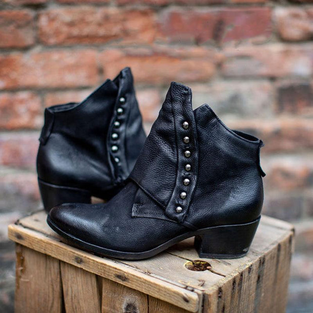Women's Trendy Vintage Side Zipper Leather Booties Ankle Boots With Rivet