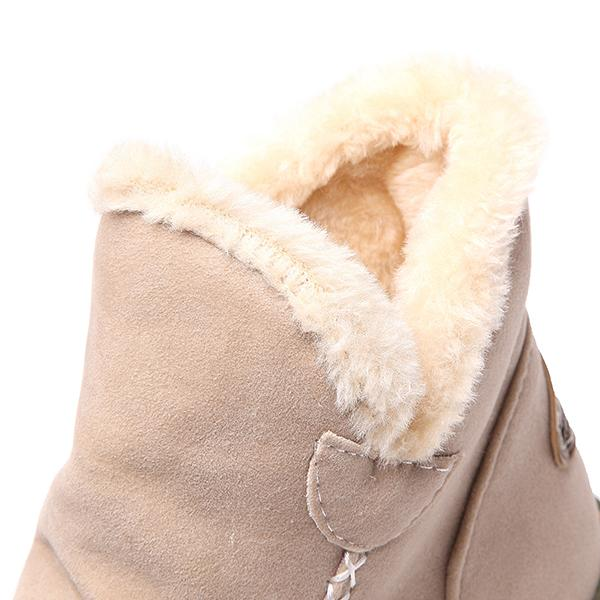 Women's Suede Thicken Faux Fur Lined  Snow Boots