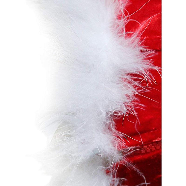 Women's Red Overbust Cup White Fluff Fish Boned Miss Santa Bustier
