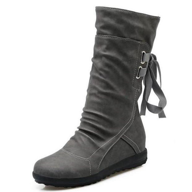 Women Lace-up Martin Flat Heel Boots