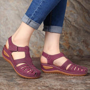 Women's Hollow Out Lightweight Pure Color Breathable Hook Loop Wedges Sandals