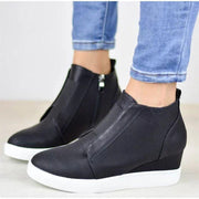 Womens Side Zipper Slip On Platform Sneakers