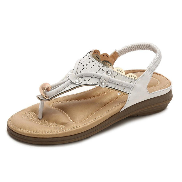 Women Casual Soft Leather Clip Toe Rhinestone Flat Sandals 131625