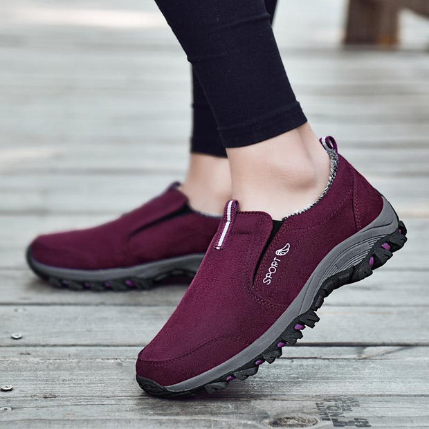 Pearlzone_Female Plus Velvet Middle-aged Walking Shoes
