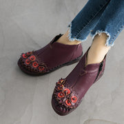 Women's Plus Velvet Flowers Leather Boots