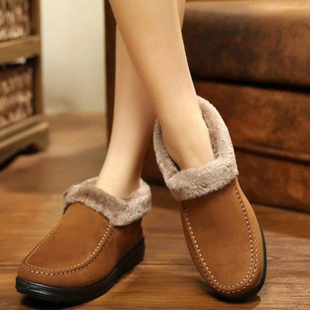 Suede Wool Lining Slip On Ankle Short Snow Boots for Women - pearlzone