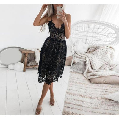 Valerie Lace Backless Dress