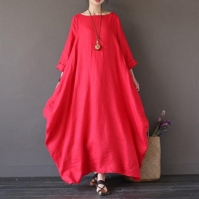 Trendy Baggy Boho Dress 3/4 Sleeves