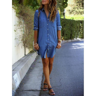 Cowboy Denim Shirt Dress