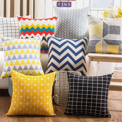 Blue - Colorful Geometry Cushion Cover Collection