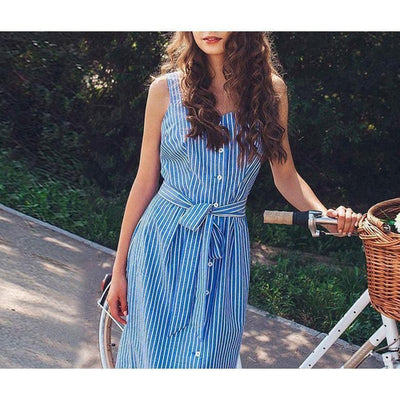 Andrea Elegant Blue Striped Dress