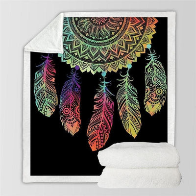 Black Dreamcatcher Sherpa Throw Blanket