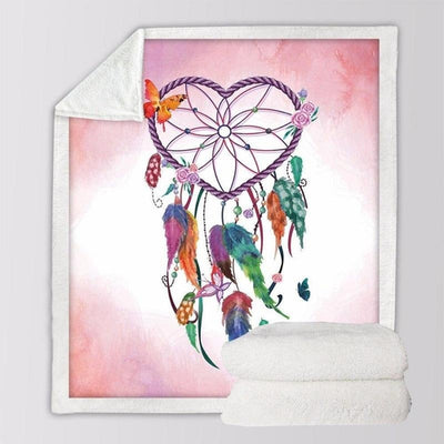 Heart DreamCatcher Sherpa Fleece Blanket