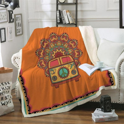 Hippie Car Throw Blanket