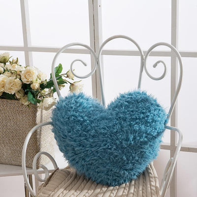 Fluffy Heart Cushion with Zipper
