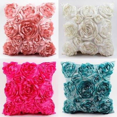 Roses Embroidered Cushion Cover